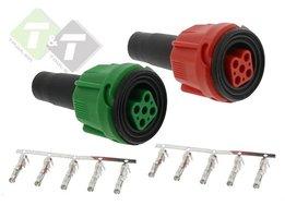 Aansluitset connector groen/rood, Radex, Connectors