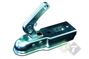 Disselkoppeling, voor ongeremde aanhanger met een 70mm koker, 2 bevestigingsgaten aan bovenzijde rond 10.5mm