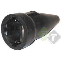 Stekker rubber contra + RA, zwart, 230 Volt, 16 Ampere