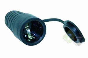 Stekker rubber Zwart, contra + RA, 16 Ampere, 250 Volt, met afdekkap