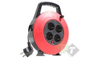 Stroomhaspel, 230 Volt, 10 meter, max. vermogen 2300 Watt