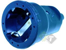 Stekker PVC contra met randaarde, zwart, 16 Ampere, 250 Volt, VDE
