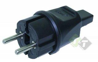 Stekker Prikkabel zwart, 230 Volt, 16 Ampere, 5x13mm