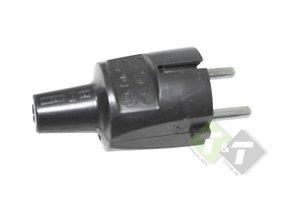 Stekker Prikkabel zwart, 230 Volt, Stekker rubber prik kabel, 16 Ampere