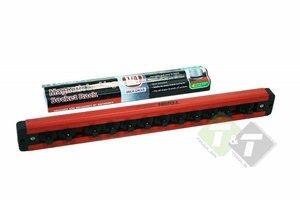 Doppenrail, Magnetische dophouder, 1/4 duims, 29cm lang, capaciteit van 12 doppen