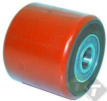 Palletwagenwiel klein, Breedte wiel 70mm, diameter 80mm, asmaat 20mm