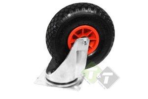 Zwenkwiel met luchtband, zware kwaliteit, 26 cm, Luchtwiel, Luchtwielen, Industriewiel, Wiel voor industrie. 260mm diameter, 150KG draagvermogen